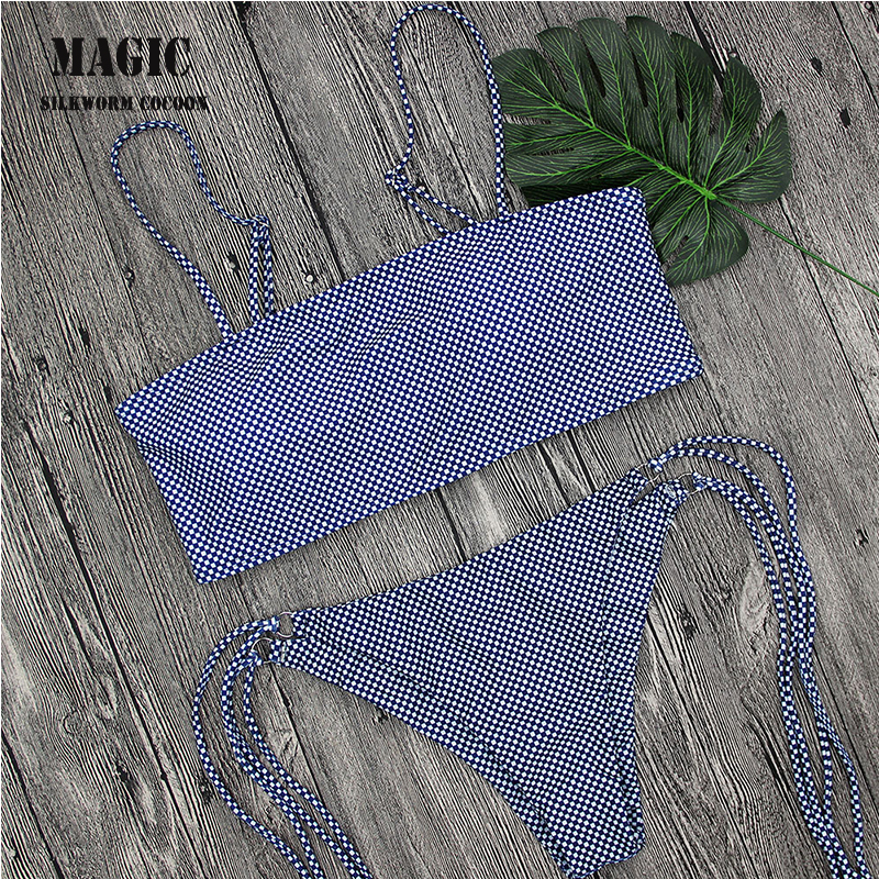 <font><b>2018</b></font> <font><b>Sexy</b></font> Retro Small Plaid Print Bandeau Biquini Lady's Swim Bathing Suit <font><b>Swimsuit</b></font> Thong Swimwear <font><b>Women</b></font> <font><b>Brazilian</b></font> <font><b>Bikini</b></font> image