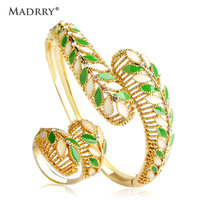 Madrry Alloy Metal Luxury Bangle Rings Jewelry Sets Gold Color Green Enamel Leaves Crystals Braccialetto Cocktail