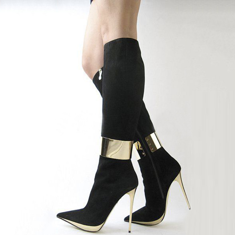 SHOFOO shoes,Beautiful fashion free shipping, black suede, gold sequins decoration, 12.5 cm high heel boots. SIZE:34-45 shofoo shoes 2017 new free shipping white spots and black cloth 13 5 cm wedge sandals women s sandals size 34 45