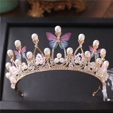 Bride Wedding Headdress Butterfly Gold Color Crown Sweet Princess Hair Accessories Banquet Hair Crown for Women Hair Jewelry