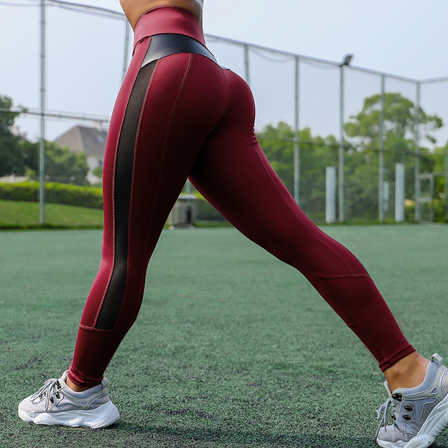 CHRLEISURE High Waist Fitness Leggings Women for Leggings Workout Women Mesh And PU Leather Patchwork Joggings S-XL 5