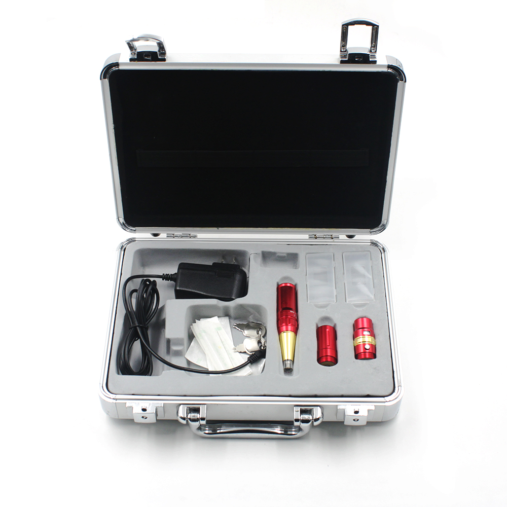 Professional permanent makeup pen eyebrow tattoo machine kit supplies red eyebrows tattoo machine and power supply kit 15pcs red professional handmade permanent makeup tattoo manual pen machine for eyebrow 50pcs blade 12 free shipping