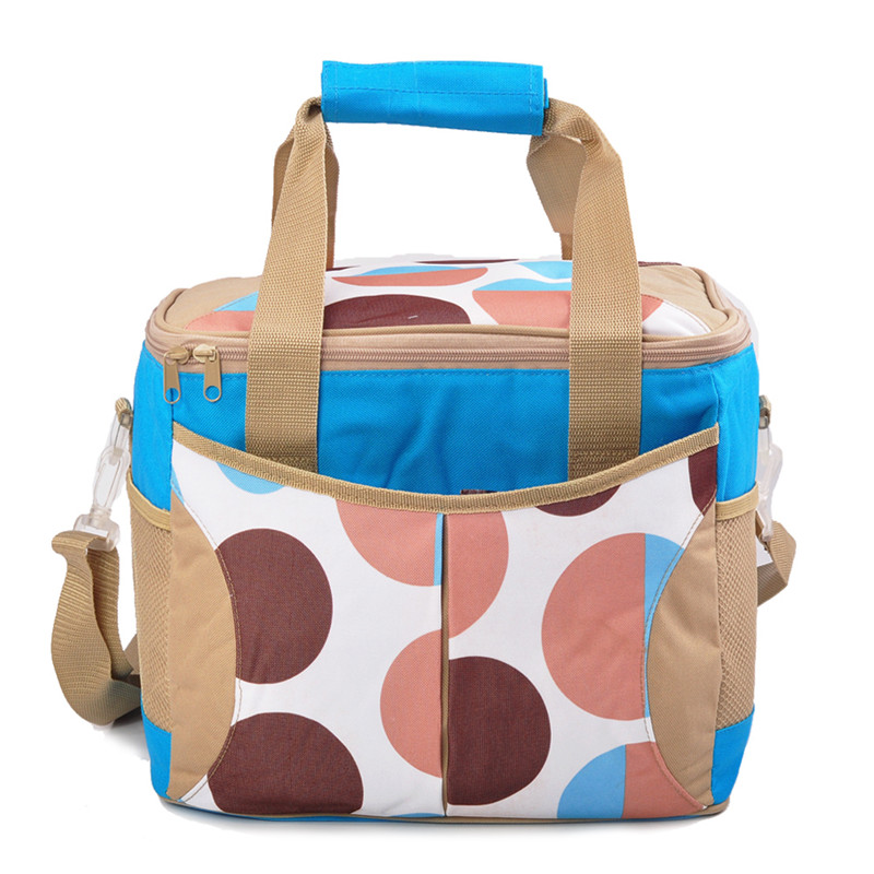 Handbag Polka Dot Top Grade Waterproof Portable Fabric Thermal Cooler Bag Car Trunk Freezer Men suitcase Picnic Bags handbag