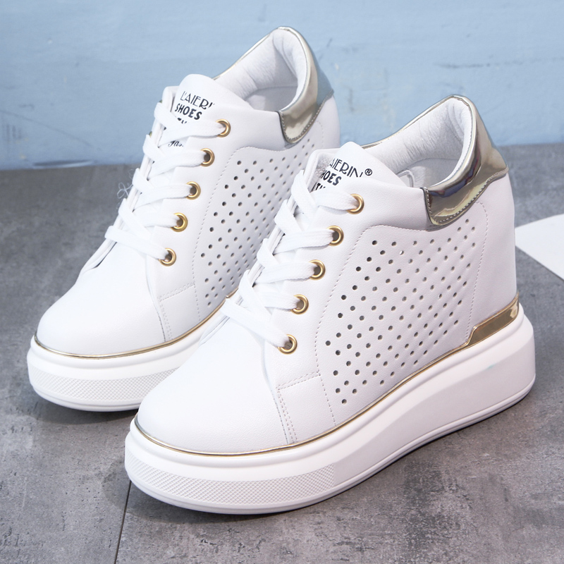 Wedged Sneakers Women Height Increasing Sports Shoes 12CM Women High Platform White Breathable Walking Shoes Travel Shoes