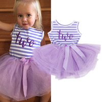 Summer Toddler Baby Dress First Communion Stripe Baptism Child Clothes 1 Year Birthday Baby Girls Dresses