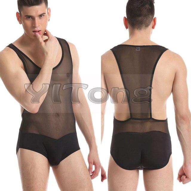 HOT JQK Men Sexy Transparent Vest Mesh Bodysuits Gauze Suspender Wrestling Singlet Men Sexy Pajamas M L XL 4 Color