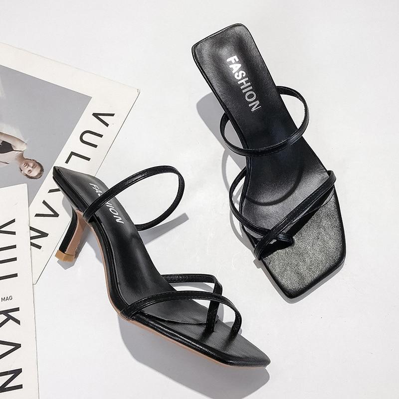 Classics High Heels Sandals Women Strap White Sandals Ladies Fashion Slip On Sandals Thin Heels Sexy Sandals Women Summer 2019