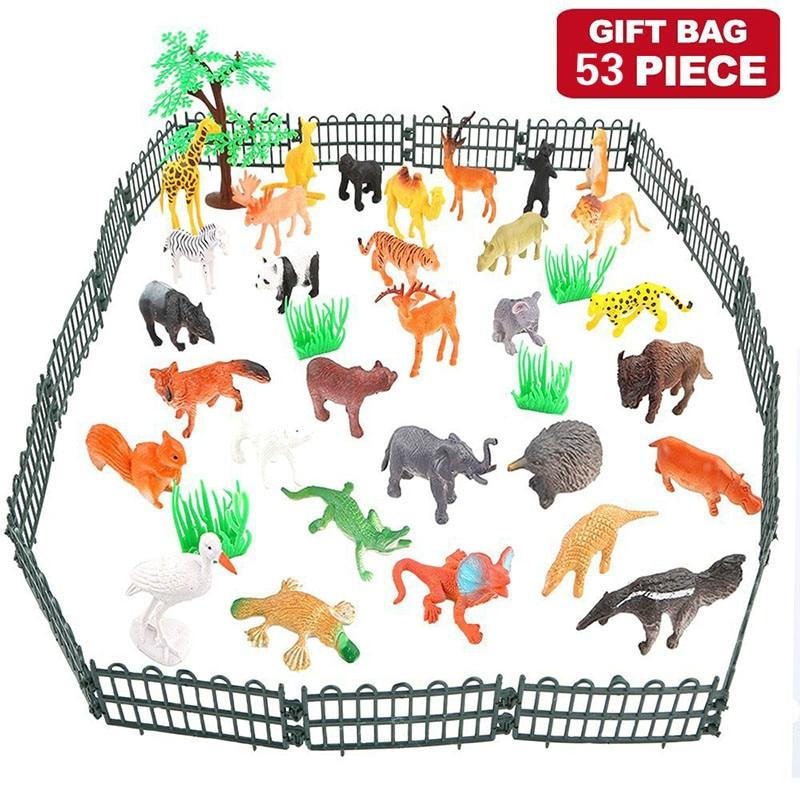 53pcs/pack Jungle Animal Model Simulation Animal World Toy Set Mini Animal World Zoo Plastics Collection Toy For Kids53pcs/pack Jungle Animal Model Simulation Animal World Toy Set Mini Animal World Zoo Plastics Collection Toy For Kids