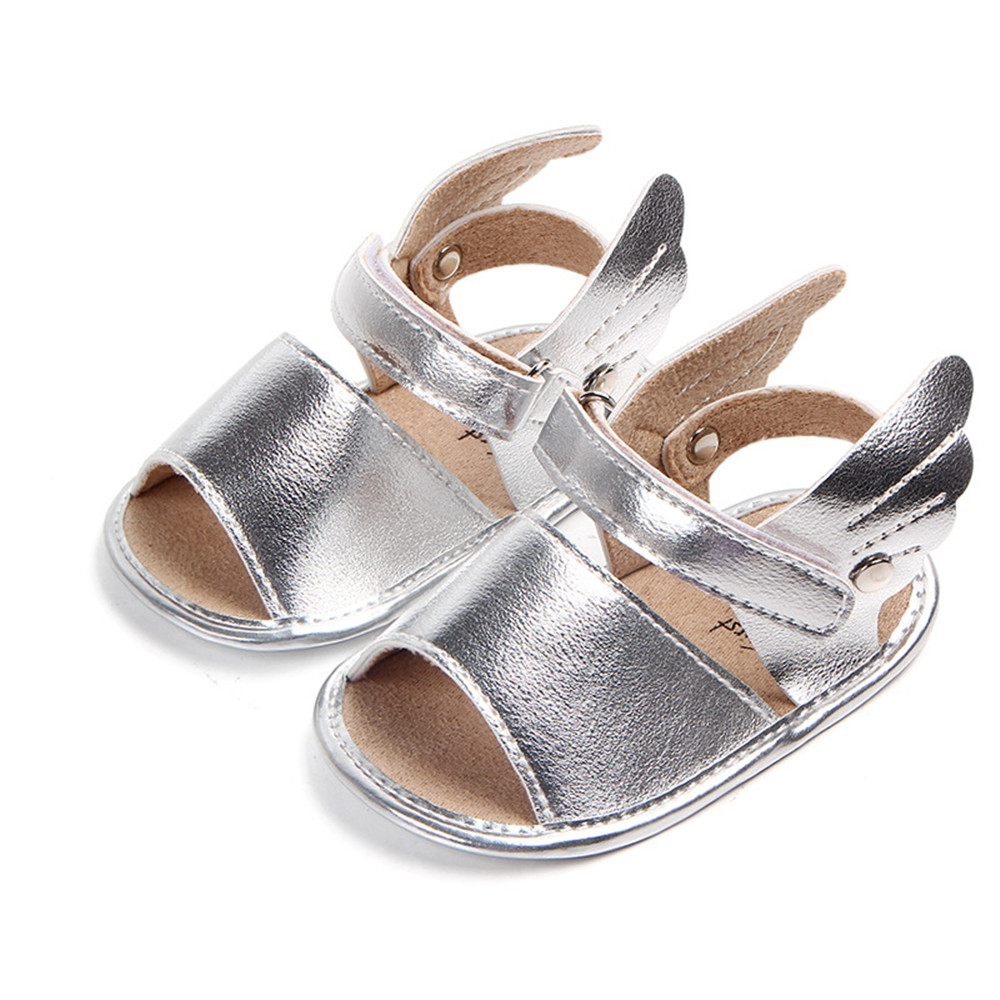 2018 Baby Boys Girls PU Leather Rubber Sole Anti-Slip Summer Sandals Walkers Buckle Shoes First Walk wings Summer