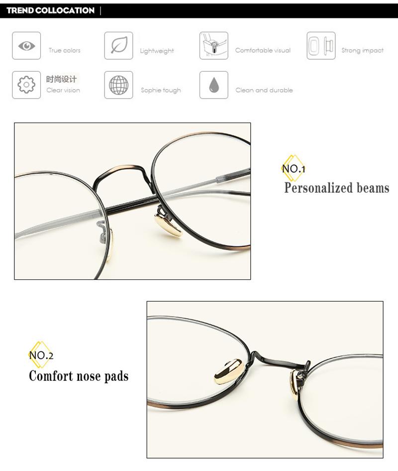 Neue Designer Frau Brille Optische Rahmen Metall Runde Brille Rahmen ...