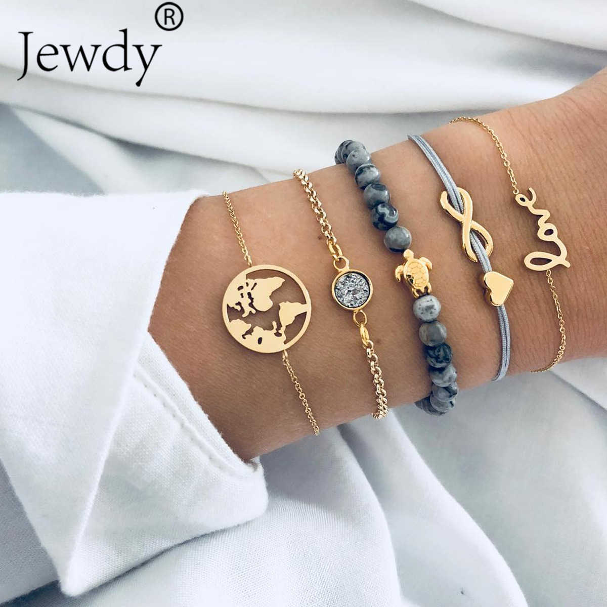 Boho Earth Multilayer love Heart Bracelet Women Crystal Charm Stone Beads Turtle Pendant Gold Cuff Bangles 5 PCS/Set Jewelry