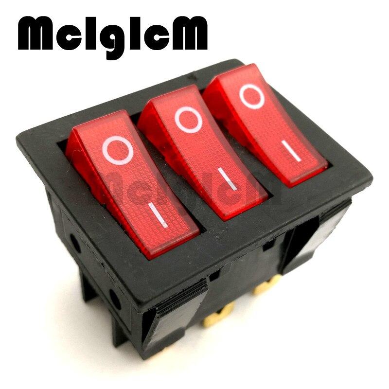 Interruptor basculante de barco/interruptor SPST AC 250V 15A/20A 125V 9P 3 vías con luz LED roja