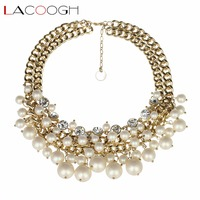 Lacoogh Fashion Chokers Necklaces For Women Gold Plated Chains Imitation Pearl Necklaces Pendants Jewelry Accessories Collier