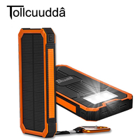 Tollcuudda Portable Solar Power Bank Dual USB Power Bank 10000mAh Waterproof Powerbank Bateria External With LED