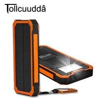 Tollcuudda Portable Solar Power Bank Dual USB Power Bank 10000mAh Waterproof Powerbank Bateria External With LED