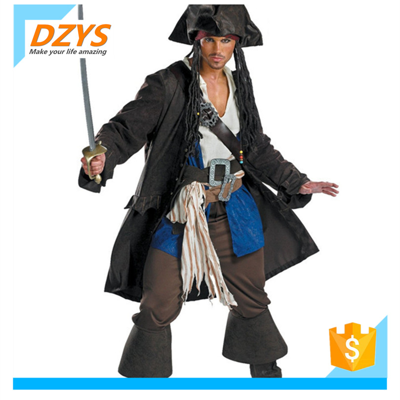 Xz-halloween Pirate Jack capitaine costume cosplay homme pirate robe caraïbes Pirate Bandit Costume