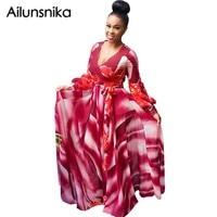 Ailunsnika Autumn Fashion Women Bule Red Chiffon Dress Long Sleeve V Neck Elegant Party Long Print