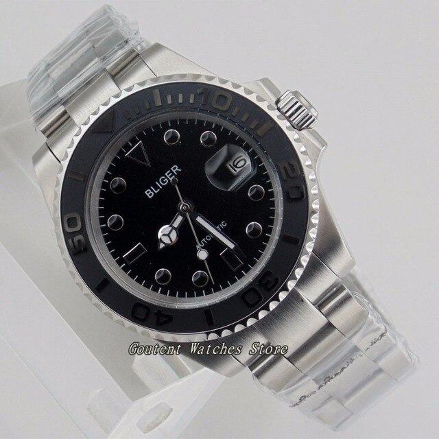 1c2efa44571b 40mm Bliger Sapphire Glass Brushed Finished Black Dial Ceramic Bezel  Automatic Men  Watch