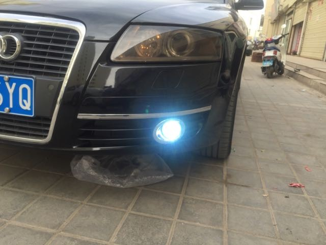 COB angel eye DRL daytime running light + halogen fog lamp + projector lens + fog lamp cover for Audi A6 A6L C7 2005-2008, 2pcs eosuns cob angel eye led daytime running light drl fog light projector lens fog lamp cover for audi q5 2009 13 2pcs