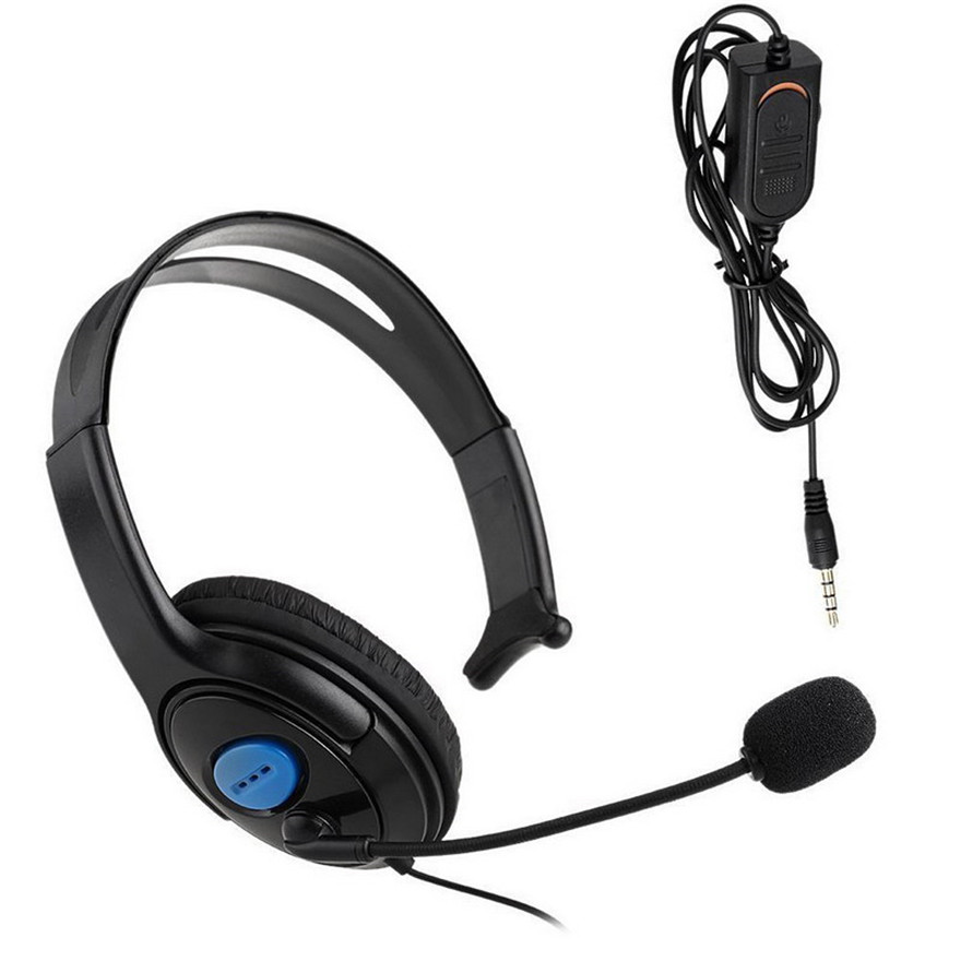 Black 3.5mm Single Headphone Headset With Microphone Wired for Sony PS4 PlayStation Computer Game Gaming Earphone