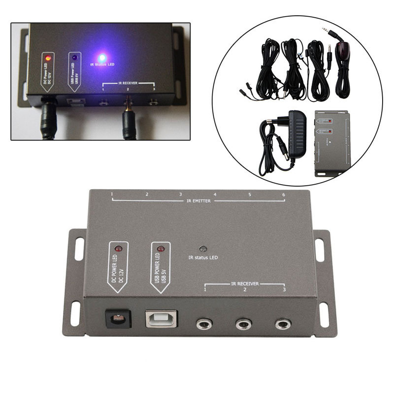 2019 Infrared Remote Extender 6 Emitters 1 Receiver Hidden IR Repeater System Kit DC-in Remote Controls from Consumer Electronics