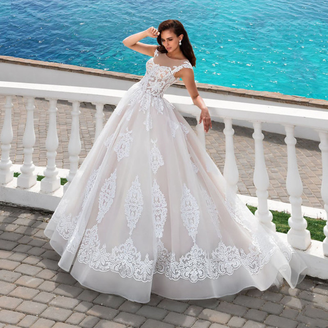 Empire Ball Gown Wedding Dresses: Luxury Lace Applique Ball Gown Wedding Dress 2017 New
