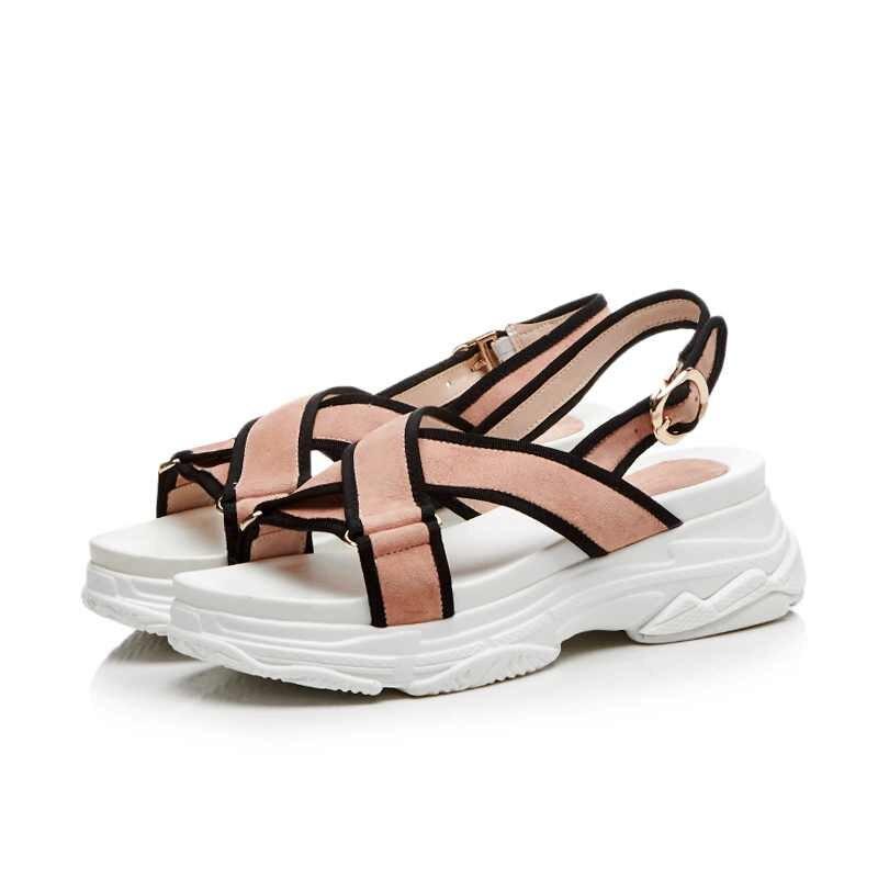 Lenkisen empfehlen peep toe kid suede schnalle riemen keile unten feste Koreanische designer streetwear frauen plattform sandalen L55-in Hohe Absätze aus Schuhe bei  Gruppe 3