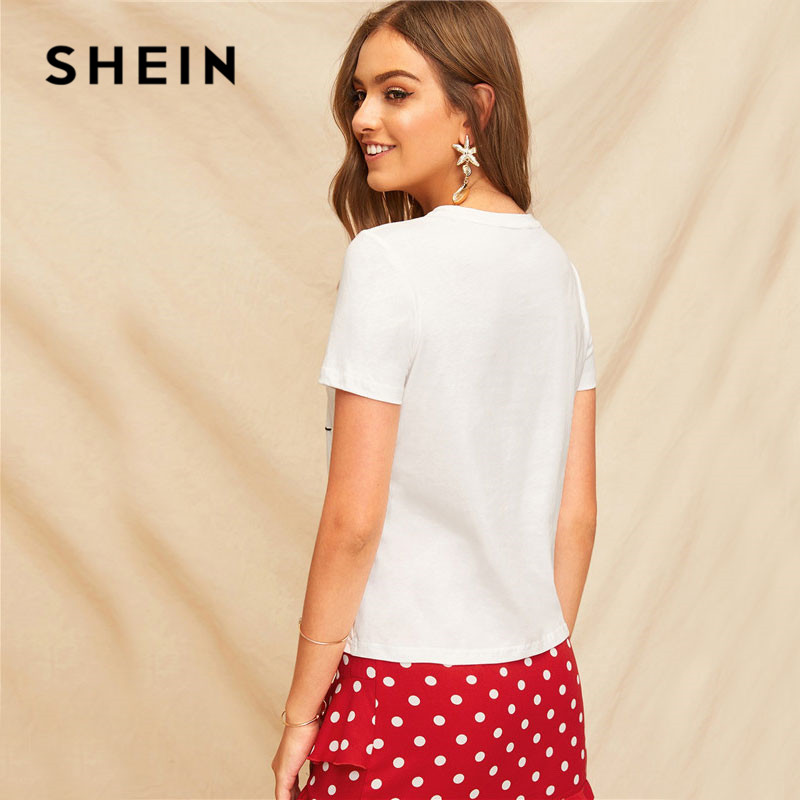 6b8ef2fbf7 SHEIN Lady Simple Round Neck Graphic Print White T Shirt Summer Casual  Minimalist Short Sleeve Letter Women Tshirt Tops-in T-Shirts from Women's  Clothing on ...