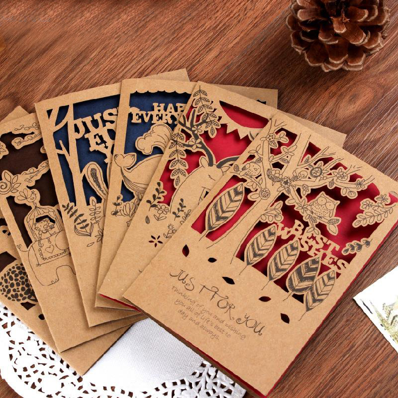 1Pcs Vintage Small Animal Cutout Cowhide Gift Card