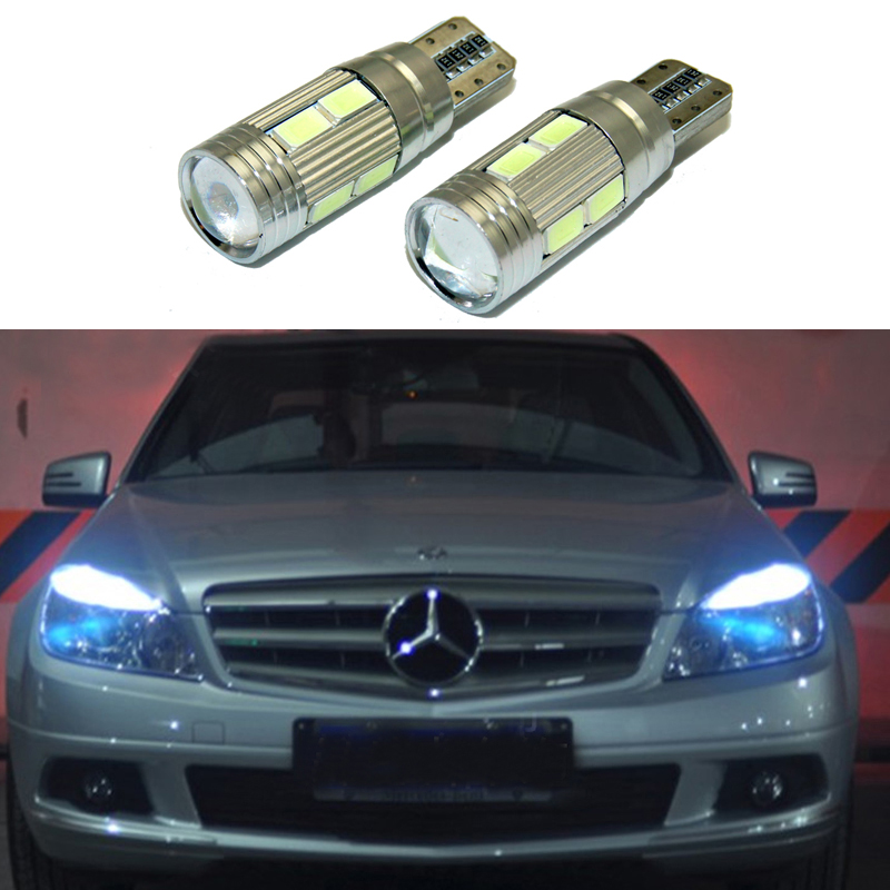2x T10 LED W5W Car LED Auto Lamp 12V Clearance Parking Light bulbs with Projector Lens for Mercedes-Benz w203 GLK R ML W204 C E auto fuel filter 163 477 0201 163 477 0701 for mercedes benz