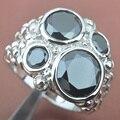 Enorme Deisgn Negro Estampado de Plata Cubic Zirconia Para Las Mujeres Anillos de La Joyería Envío Libre del Tamaño 6 7 8 9 SA020