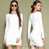 Vestidos Mujer Dress Fiesta Europe And The Women's 2019 Spring New Fashion Bag Body Sexy Waist Tear Long sleeved Knit Female