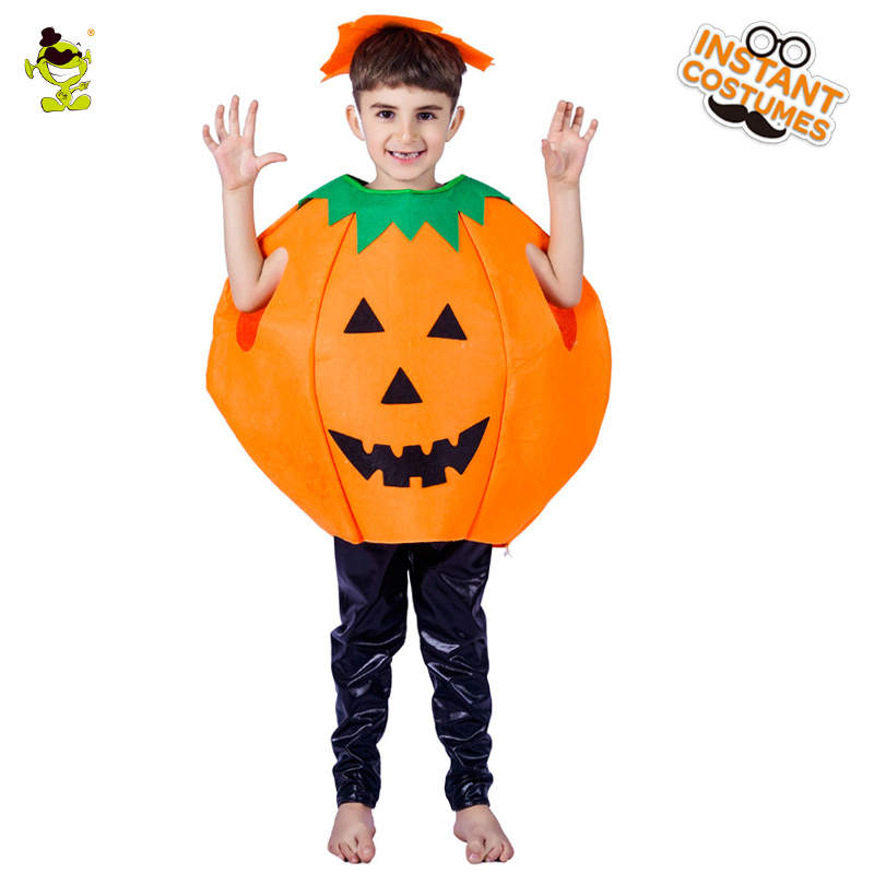 kids Cute Pumpkin Lovely Boys Halloween Fancy Jumpsuit With Headpiece Kids Cosplay Outfits Clothing For Children