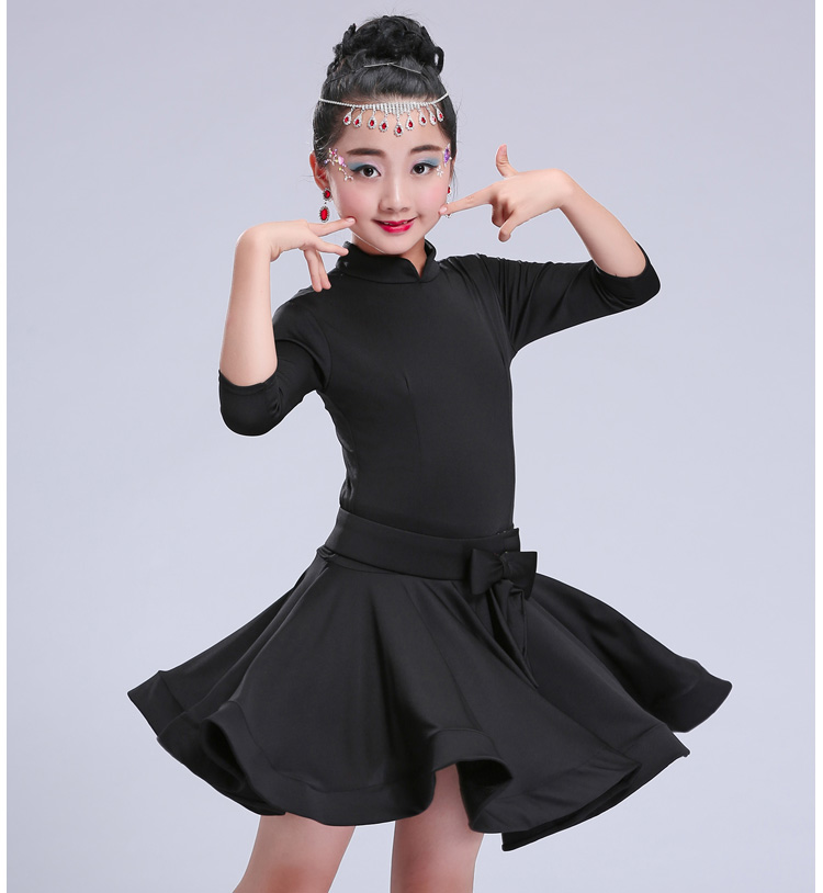 Yying Latin Dance Dress Girls Fashion Lace V-Neck Dancewear Long Sleeve Ruffle Dance Dress with Belt Rumba Samba ChaCha Stage Performance Dresses