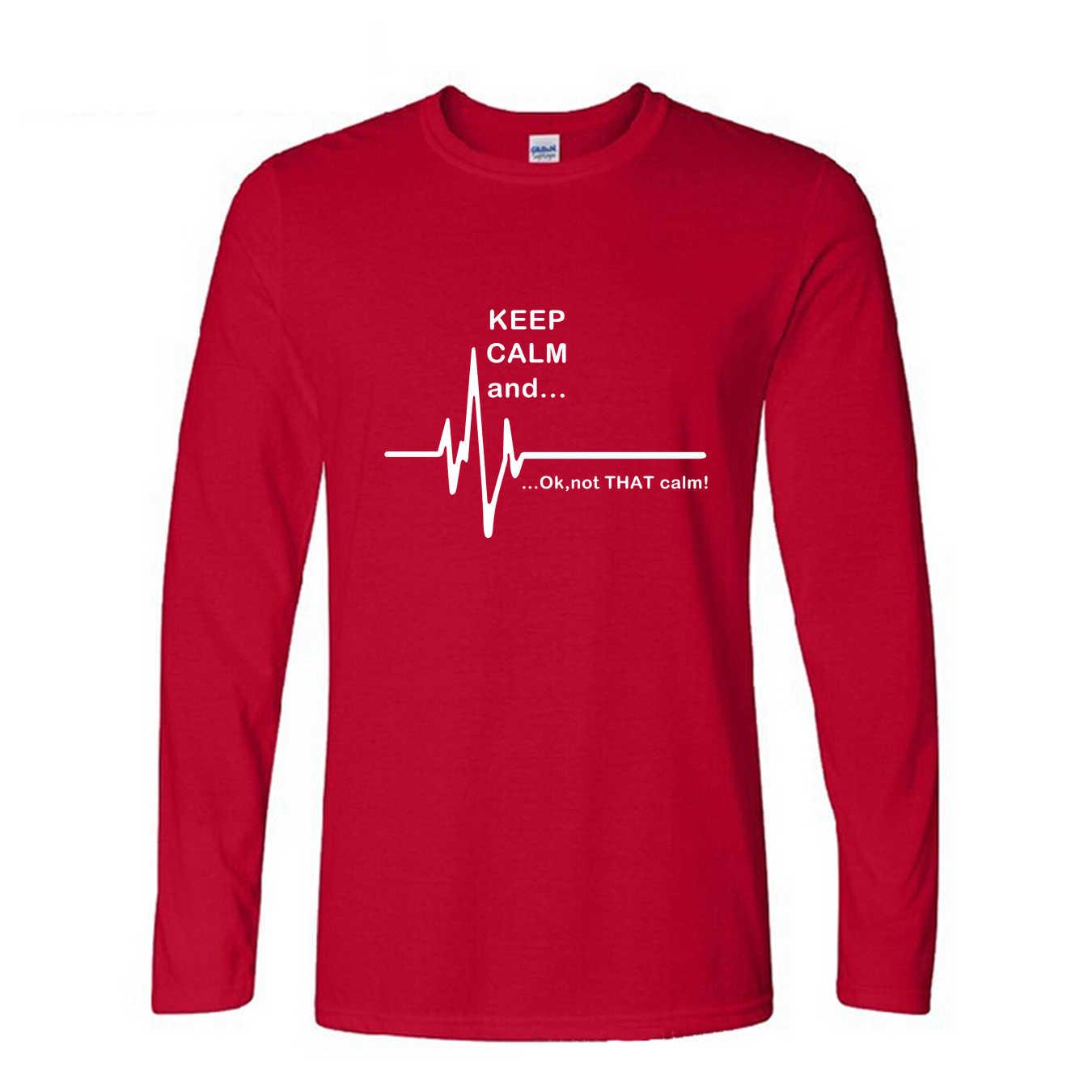 침착하게 유지하고... 그 평온하지 2019 새로운 패션 재밌는 심장 박동 응급 처치 간호사 인쇄 T 셔츠 긴 소매 티셔츠 남자 셔츠