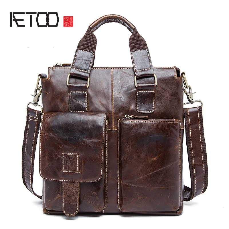 AETOO Genuine Leather Men Bag men's Briefcase Fashion cowhide Men's Messenger Bags Tote Shoulder crossbody bags Handbags genuine leather fashion women handbags bucket tote crossbody bags embossing flowers cowhide lady messenger shoulder bags