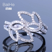 BAIHE Solid 14K White Gold(AU585)0.6CT Certified H/SI Round Cut Genuine Natural Diamonds Wedding Women Trendy Fine Jewelry Ring