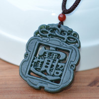 Natural Green Stone Pendant Chinese Hand carved Hollow out Pendant Necklace Bringing Wealth Men's Pendant Free Rope