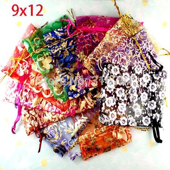 100 Random Mixed Drawable Organza Wedding Bags&pouches 12x9cm(w00460) AA