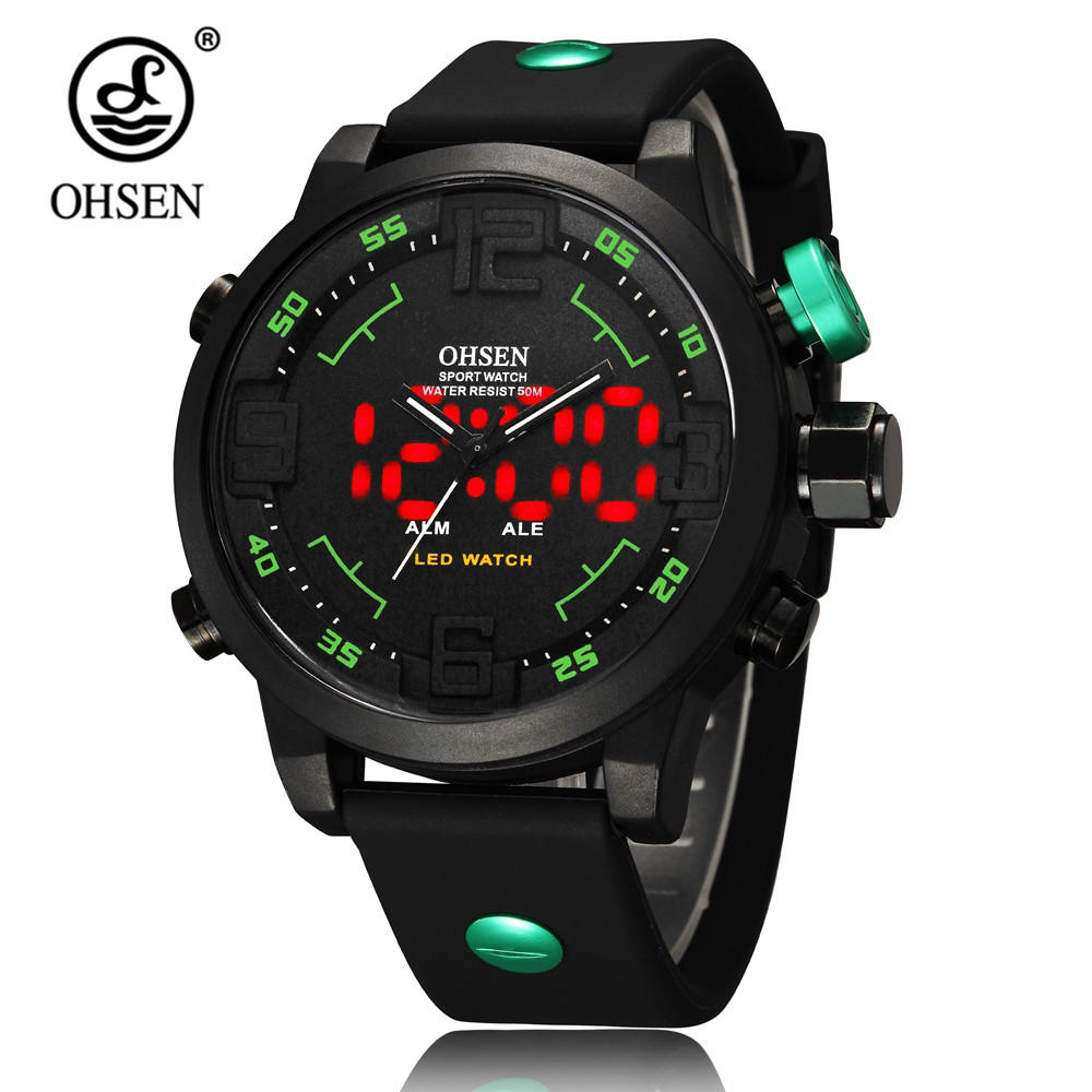 OHSEN Digital Quartz Mens LCD Watch Male Clock 50m Swim Watch Rubber Band Fashion Casual Green Military Dive Man Wristwatch Gift sinobi sport quartz watch for men male fashion casual rubber watchband clock watch man s wristwatch page 9