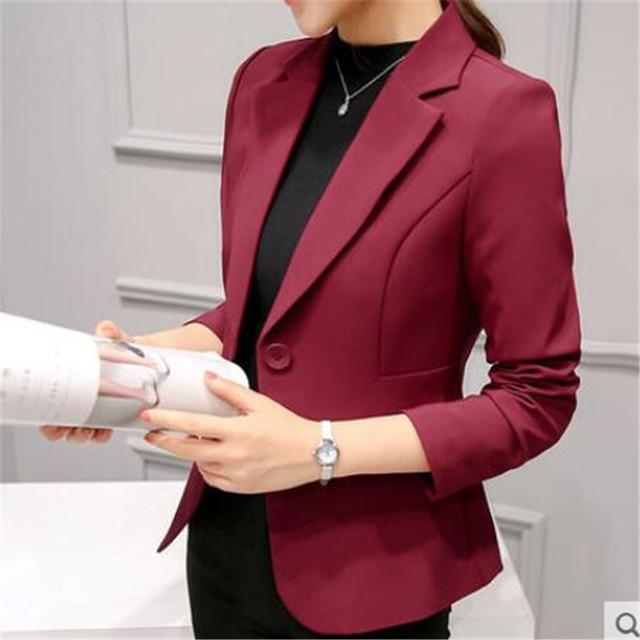 48d0b8581 Elegnant Nova Moda Primavera Blazer Vermelho para As Mulheres Roupas Slim  Fit Sólidos Senhoras Blazer Casaco