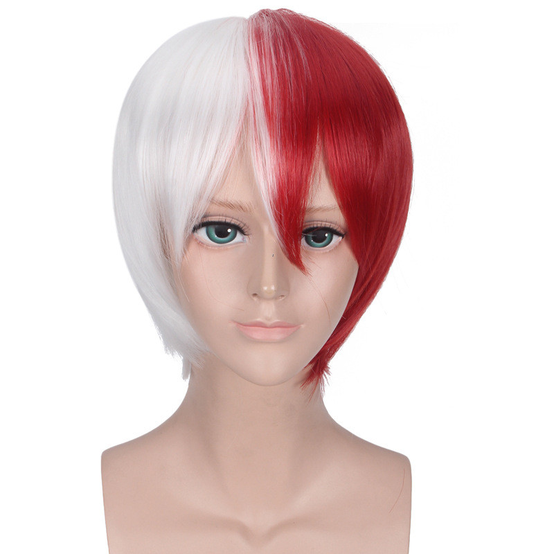 My Hero Academia Boku no Hiro Akademia Shoto Todoroki Shouto White And Red Head Costume Cosplay Wig Accessories