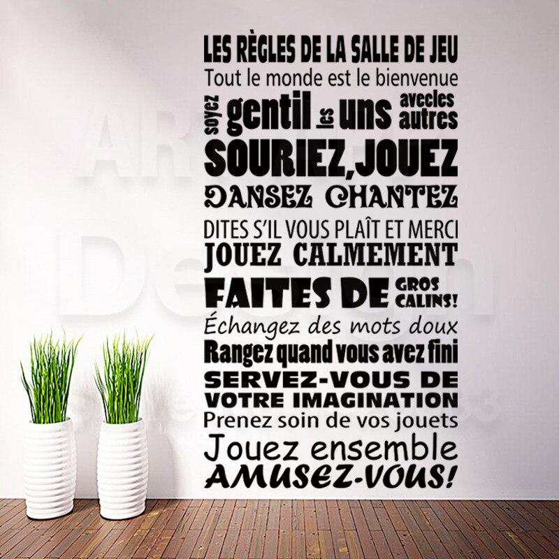Arte barato vinilo decoración del hogar nuevo diseño Francés cita reglas etiquet