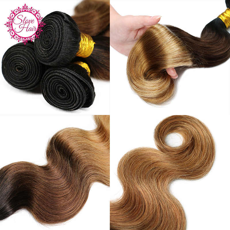Ombre Hair Bundles Blonde 1B/4/27 Remy Brazilian Human Hair Weave Extension Dark Black Root 3 PCs Match Closure Or Frontal Slove