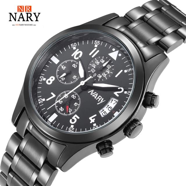 NARY Brand New Men Luxury Quartz Watch Stainless Steel Fashion black Waterproof Luminous Sports Watches Relogio Masculino