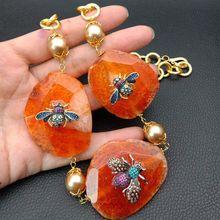 """2"""" Оранжевый кусочек Ston'e ожерелье Cz насекомое Морская раковина жемчужная цепь ожерелье"""