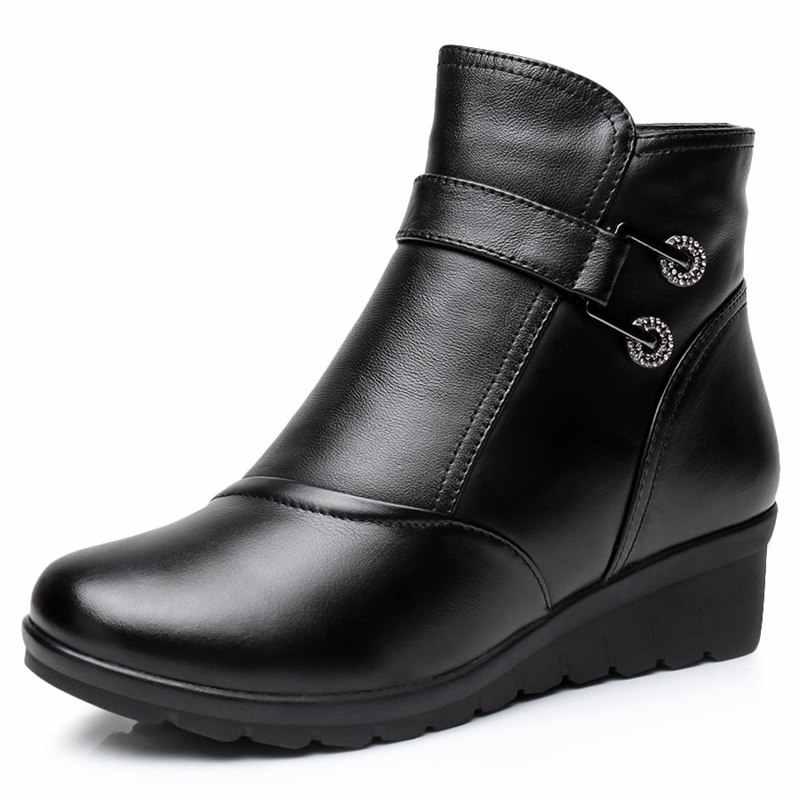 2020 שלג מגפי נעלי נשים אמיתי עור גדול חצר חורף מגפי נשים מגפיים חם קטיפה חורף נעלי גדול גודל 35 -41 שחור