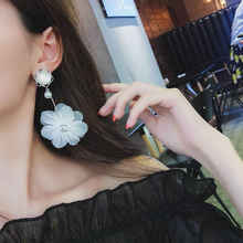 Pearl White Lace Flower Earrings Female Korean Long-style temperament personality exaggerated super fairy earrings jewe