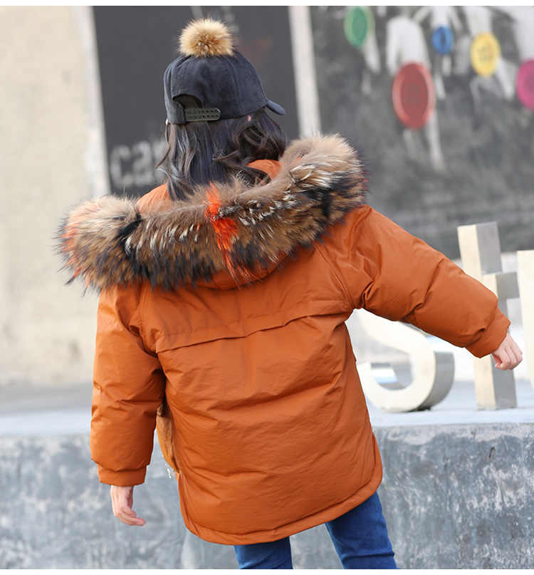 c073e6ed80fd ... Baby Girls Winter Coat Down Jackets Big Real Fur Hooded Big Girl Parkas 4  5 6 ...