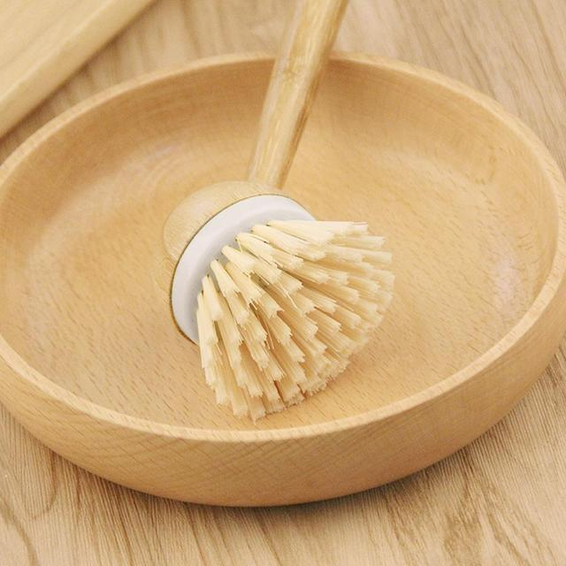 Pot Dish Bowl Brush Cooking Washing Cleaning Brush With Wooden Bamboo Long Handle Cleaning Tool Kitchen Pot Hanging Brush